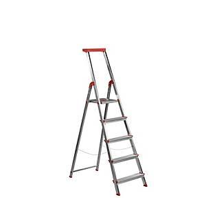 Escalera de aluminio Rolser - 5 peldaños - aluminio y rojo