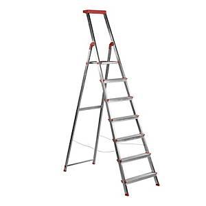 Escalera de aluminio Rolser - 7 peldaños - aluminio y rojo