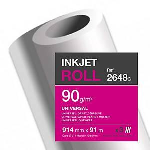 Plotterpapier Clairefontaine Universal InkJet 2648C, 914mmx91m,90g/m2, Pack à 3