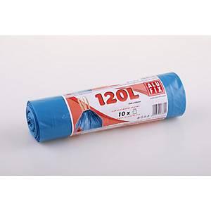 Szemeteszsák, polietilén, zárószalagos, kék, 120 l