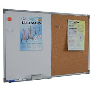 Writebest Combination Whiteboard + Cork Notice Board 60 X 90cm