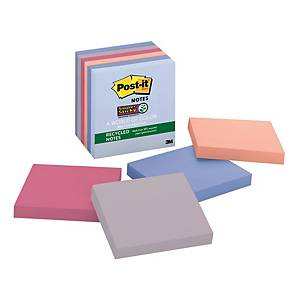 Post-it 654-6SSNRP Super Sticky Recycled Notes (Bali) 3 inchx3 inch - Pack of 6