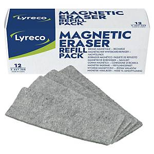 Lyreco refil for magnetic whiteboard eraser - pack of 12