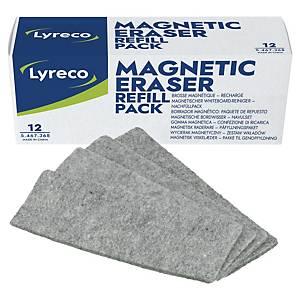 Chiffons Lyreco pour effaceur tableau blanc magnétique, le paquet de 12 pièces