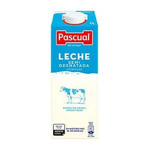 Pack de 6 pacotes de leite meio-gordo Pascual - 1 L