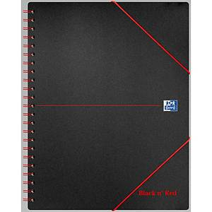 Oxford Black n  Red A4+ Poly Cover Wirebound Meeting Book Ruled Margin 160p Blk