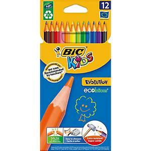 Bic® Kids Evolution kleurpotloden, assorti kleuren, doos van 12 potloden