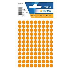 Vielzweck Etiketten HERMA 1844, 8 mm, rund, leuchtorange, Packung à 540 Stück