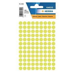 Etiquettes universelles Herma 1834, 8 mm jaune fluo, emballage de 540 pièces