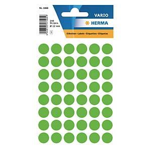 Vielzweck Etiketten HERMA 1868, 13 mm, rund, leuchtgrün, Packung à 240 Stück
