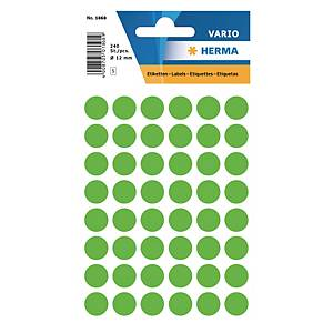 Etiquettes universelles Herma 1868, 12 mm vert fluo, emballage de 240 pièces