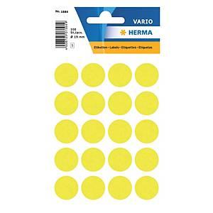 Vielzweck Etiketten HERMA 1884, 19 mm, rund, leuchtgelb, Packung à 100 Stück