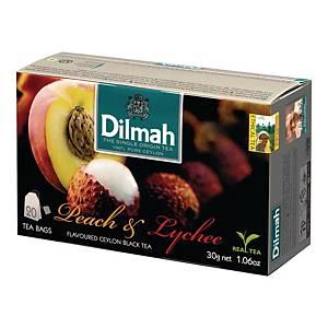 Herbata czarna aromatyzowana DILMAH liczi i brzoskwinia, 20 torebek