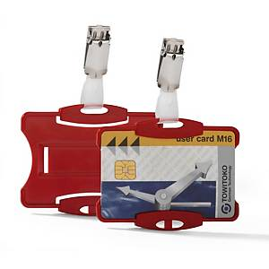 Durable Security Pass Holder With Clip 54X85mm Red - Pack of 25