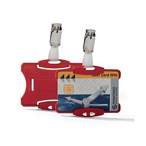 Durable Red Securtiy Pass Holder with Clip