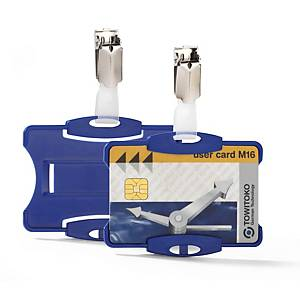 Durable Security Pass Holder With Clip 54X85mm Blue - Pack of 25