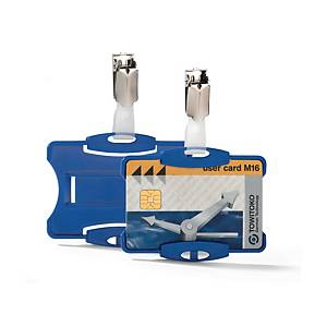 Durable Blue Securtiy Pass Holder with Clip