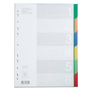 FLAMINGO 9532A-6 Plastic Paper Divider A4 1-6 Part 6 Colours