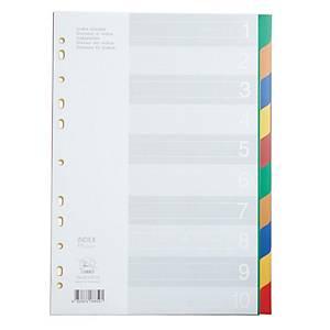 FLAMINGO 9532A-10 PLASTIC PAPER DIVIDER A4 1-10 PART 5 COLOURS