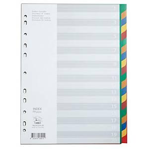 FLAMINGO 9532A-20 Plastic Paper Divider A4 1-20 Part 5 Colours