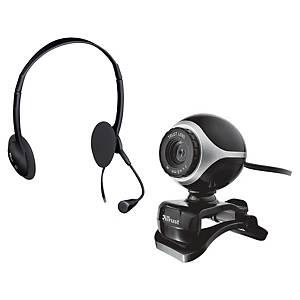 Kit casque et webcam Trust Exis 17028 Chatpack, noirs
