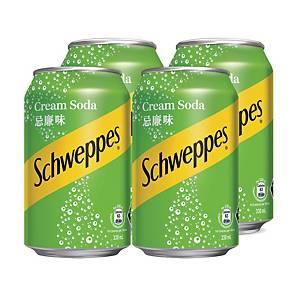 Schweppes 玉泉 忌廉味汽水330毫升 - 4罐裝