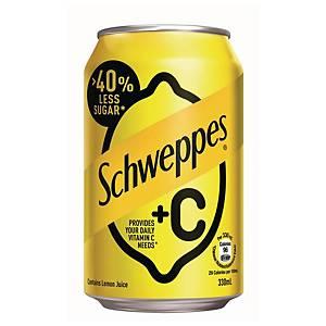 Schweppes +C Lemon Can 330ml - Pack of 4