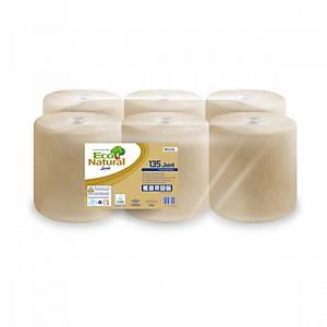 Pack de 6 bobinas secamanos Lucart EcoNatural - 135 m- 2 capas - habana