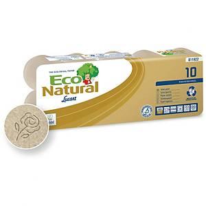 Pack de 10 rolos de papel higiénico Lucart EcoNatural - Folha dupla - 18 m
