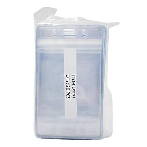 Laminex Zip Lock Vertical Name Badge Holder 12 X 6.7cm - Pack of 20