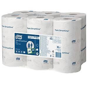 Tork SmartOne® Mini toiletpapier, 2-laags, 620 vellen, pak van 12 rollen