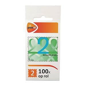 Zelfklevende postzegel Nederland, zakenzegel 2, tot 50 g, per 100 zegels op rol