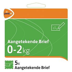 Zelfklevende postzegels Nederland, aangetekende zending, tot 2 kg, per 5 zegels