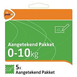 Zelfklevende postzegels Nederland, aangetekend pakket, tot 10 kg, per 5 zegels