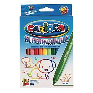 Feutres fins assortis Carioca Joy Superwash, le pack de 12 feutres