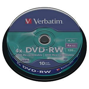 DVD-RW Verbatim 4,7 Go (120 min.), vitesse 4x, cloche de 10
