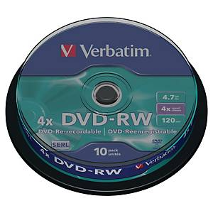 DVD-RW Verbatim 43552, 4,7GB, Schreibgeschwindigkeit: 4x, Spindel, 10 Stück