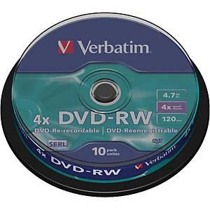 Verbatim DVD-RW 4.7GB 1-4x spindle, 1 kpl=10 levyä