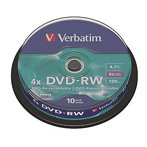 Verbatim DVD-RW 4.7GB - Spindle Pack of 10