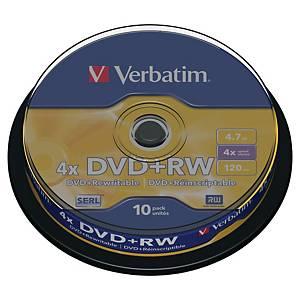 BX10 VERBATIM DVD+RW 4.7GB 1-4X SPINDLE