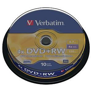 DVD+RW Verbatim, 4,7 GB, 1-4X, 10 st. på spindel