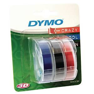 Dymo kohokirjoitinteippi 9 mm lajitelma sininen/punainen/musta