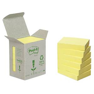 Post-it viestilappu eko 38x51mm keltainen, 1 kpl=6 nidettä