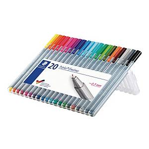 Fineliner Staedtler triplus 334, 0,3 mm, förp. med 20 färger