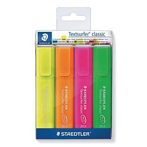 Staedtler Textsurfer Rainbow korostuskynä viisto 1-5mm värilaj., 1 kpl=4 kynää