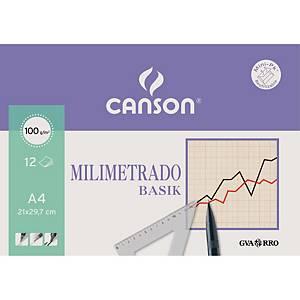 Pack de 12 folhas de papel milimétrico a4 CANSON basik 100g