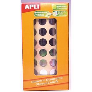 Rollo 4720 etiquetas adhesivas APLI redondo color plata