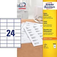Avery 18022 kopiokonetarra 70 x 33,9mm 24-osainen, 1 kpl=2400 tarraa