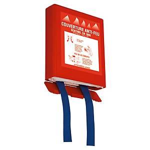 Couverture incendie anti-feu dans un boîtier rigide - 120 x 180 cm - rouge