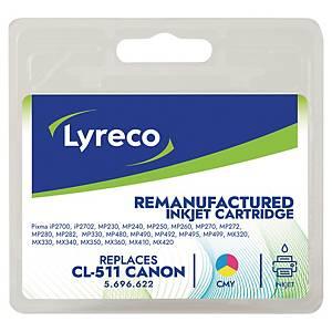 Cartouche jet d'encre Lyreco remanufacturée Canon CL-511, cyan, magenta, jaune